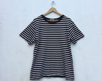 15% Sale AGNES B Made In Japan Vintage Black White Stripe T-Shirt Size M #248
