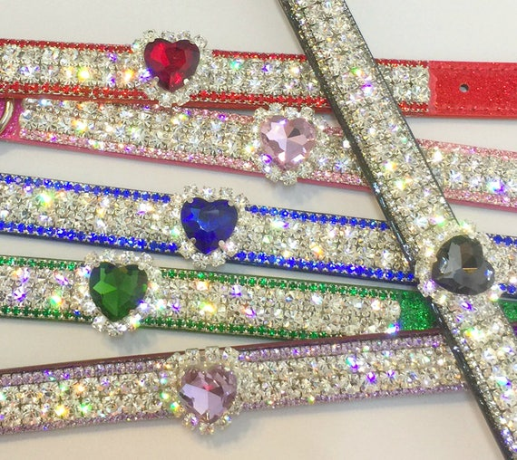 "Cutie Pie Pet Collars TM Red, Pink, Green, Blue, Purple or Black Diamond HeArT Wide 3/4"" Crystal Rhinestone Pet Dog PU Leather Collar USA"