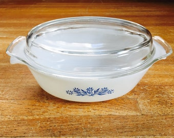 Anchor Hocking Fire King Casserole Dish with Lid Blue Flowers