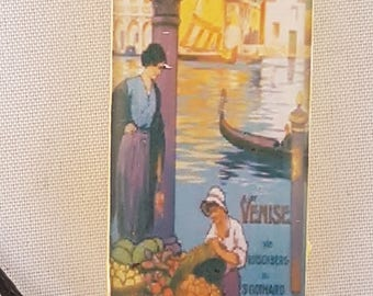 Venise vintage travel poster domino resin pendant