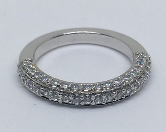 10ct white gold 5A cubic zirconia half eternity band