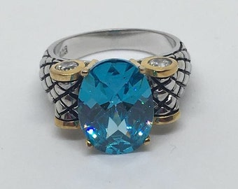 5ct oval blue topaz sterling silver gold accent ring