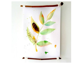PLANT wall art | gift plant lover, original watercolor leaves, botanical art, nature wall decor, foliage painting, wall hanging, greenery