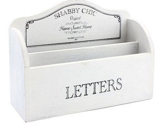 White shabby chic letter rack - Vintage style