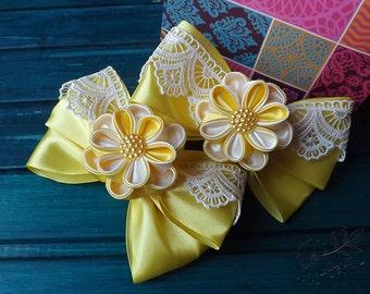 yellow kanzashi flower bows