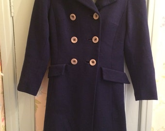 Beautiful Vintage 1960's Navy Blue Full Skirted Coat - Size 10/12 - Perfect for Autumn with a lovely silk scarf - Very Betty Draper Mad Men!