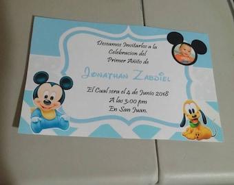 Baby Mickey mouse Birthday invitations