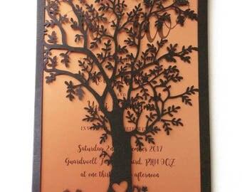 Laser cut tree copper rose gold wedding invitations wedding stationery