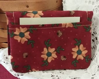 Billfold, Change Purse, Red Gingham, Yellow flowers