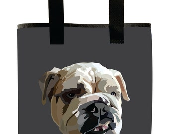 Reuseable Market Bag - Made from Recycled Materials - Eco-Friendly - Washable - Grocery Bag - English Bulldog