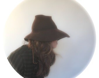 Brown Wool Felt Hat With Wide Brim