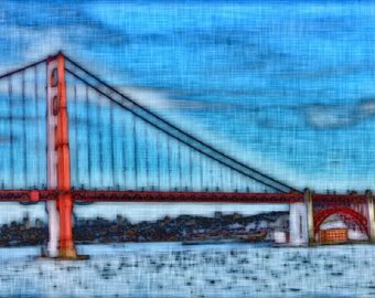 Golden Gate Bridge - Digitally Enhanced 8x10 Photo Print