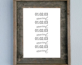 Personalized Dates with Names or Events, printable, home decor, wall art