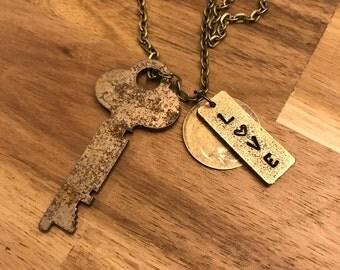 Charm Necklace, Love, Key