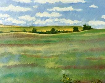 landscape oil painting of fields