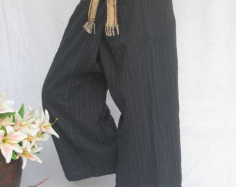 Wellness Cotton Fisherman Wrap Yoga Pants Black