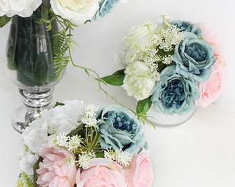 Luxury Pink Blue Rose and Peony Flower Arrangement