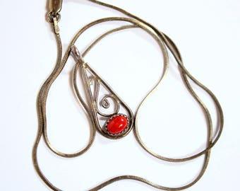 Vintage Teardrop GiltSilver Red Coral Pendant Necklace  2197