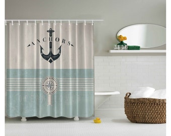 Anchor and Compass Nautical Theme Shower Curtain