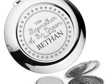 Personalised engraved STEP MUM of the GROOM compact mirror wedding thank you gift idea, handbag mirror - DA9