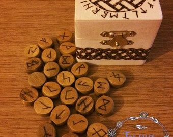 SALE! Celtic Box, Celtic Runes, Runes, Pagan, Witchcraft, magic, Spiritual Gifts, Wooden Rune Set, Mind Body & Soul, Celtic Wooden Box