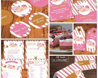Wonderful Cowgirl Baby Shower Decorations, Diaper Raffle, Editable Labels, Thank You  Cards, Baby