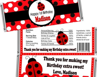 Lady Bug 1st First Birthday Candy Bar Wrappers for the 1.55 OZ Hershey Chocolate Bar (Candy Bar Wrappers only FREE Foil Included!)