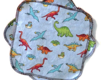 Cloth Wipes - Dinosaur - Reusable Wash Cloth - Set of 6 - 8 by 8 - 2ply Flannel Wipe - Ready to Ship - Baby Shower Gift