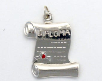 Sterling Silver Graduation Diploma Scroll Charm / Pendant with Red Enamel Accent