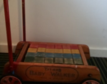 vintage tri-ang baby walker push along with childrens blocks