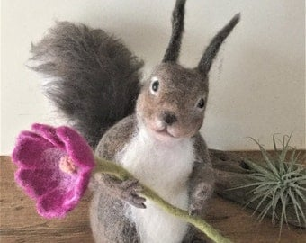 Needle Felted Abert's Squirrel,Felted Animal,Handmade sculpture