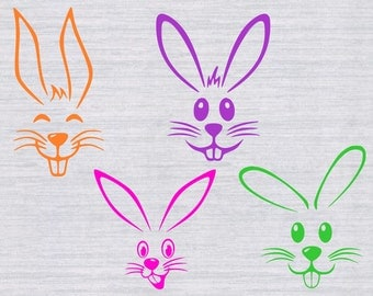 Easter Bunny Faces SVG cutting files, Easter svg, Easter Bunny svg, easter svg for boys, easter shirt, files for silhouette, cricut, digital