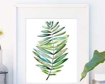 Tropical leaf print, Gift for her, Botanical art in watercolour, Leaf, Modern art green print, Minimalist tropical wall art large poster,