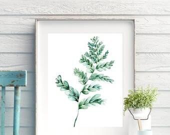 Plant leaf art print, Tropical leafs print, Home Decor, Gift for her, Palm leaf art print, Tropical leaf prints, Art print, Wall decor