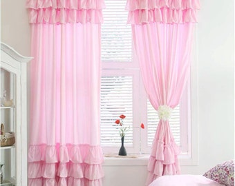 Pink or White Tier Ruffle Layer Shabby Chic Cottage French Paris Curtain