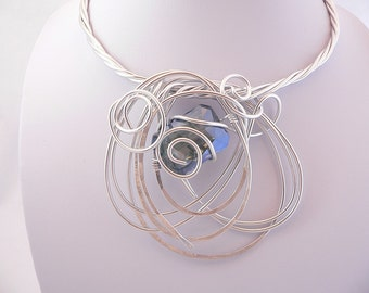Silver wire statement necklace.Unique and Funky.Wearable art.Bold and Modern.