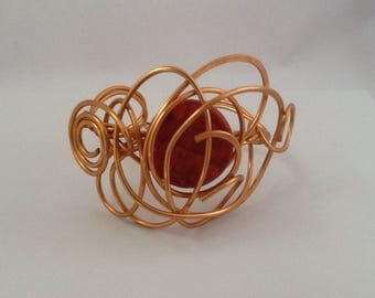Copper wire cuff bracelet.Bold,Modern and Unique.Wearable art.Make a statement.All occasion.