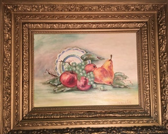 Vintage . Oil Painting Fruit Still Life -Idq Lee White