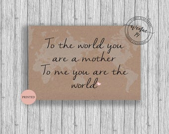 Mother's Day Card 2017 World Theme. Decorative Modern. Personalised/Customised