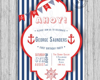 Nautical Navy & Red Birthday Invitation A5 Printed