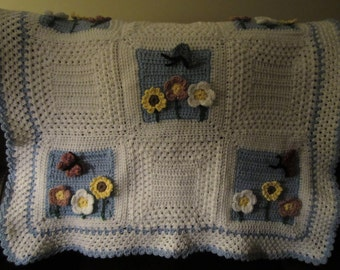 White afghan with butterflies