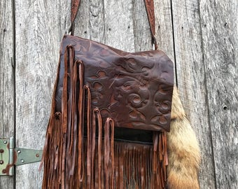 Embossed leather handbag with fringe by Soul Sisters!  Boho, crossbody, western, gypsy!