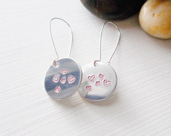 Custom Hand Stamped Valentine's Day Pink Heart Earrings Silver Aluminum  with 37mm Kidney Ear Wires or French Hook Ear Wires