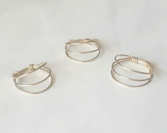 Minimalist Wire Ring, Gold Simple Stack Ring, Custom Ring, Triple Layer Ring, Gifts for her, Birthday Present,Handmade Wired Ring,Bridesmaid