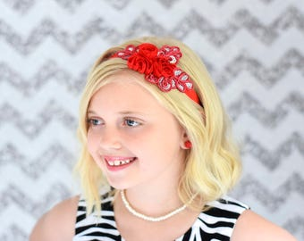 Red and Sequin headband