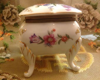 Vintage Floral Napco Trinket Box C8854 with Legs