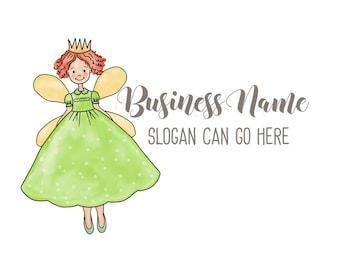 Premade Watercolor Princess Logo, Custom Logo Design, Hand Drawn Design, Photography Logo, Watermark