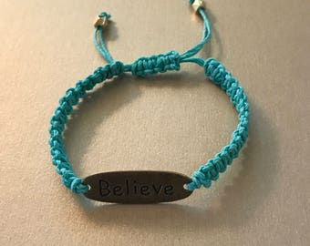 Turquoise Believe Friendship Bracelet