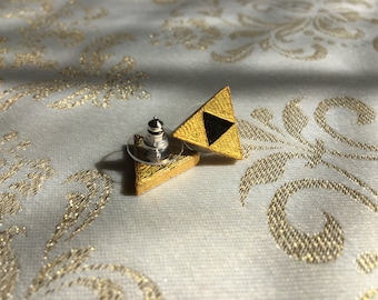 Shiny Golden Triangle earrings, charm, pendant, keychain, emblem