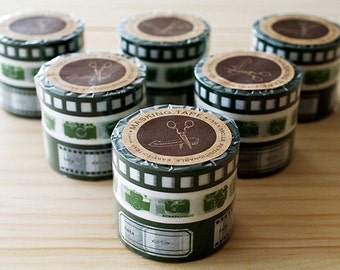 MASKING TAPE - 3 different designs - Camera - Green